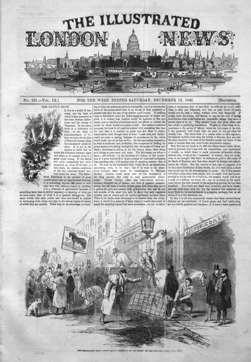 Illustrated London News December 12th 1846. Front Page.