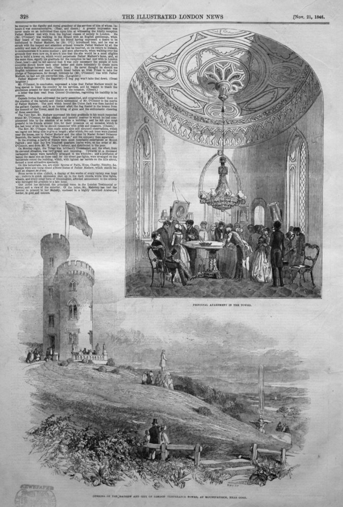 Opening of the Mathew and City of London Temperance Tower, at Mountpatrick, near Cork. 1846