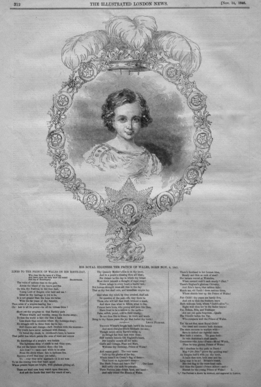 His Royal Highness the Prince of Wales, Born Nov. 9, 1841.