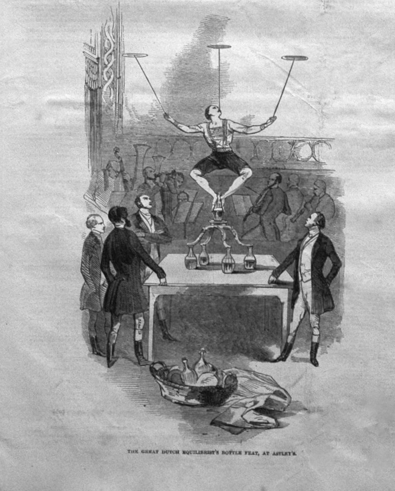 The Great Dutch Equilibrist's Bottle Feat, at Astley's. 1846
