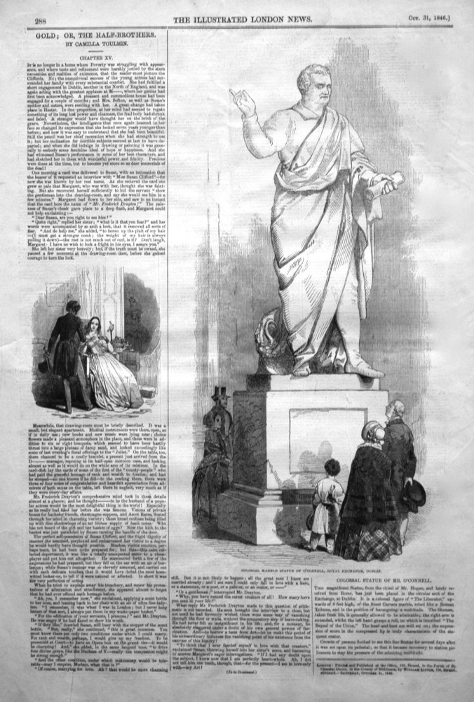 Colossal Marble Statue of O'Connell, Royal Exchange, Dublin. 1846