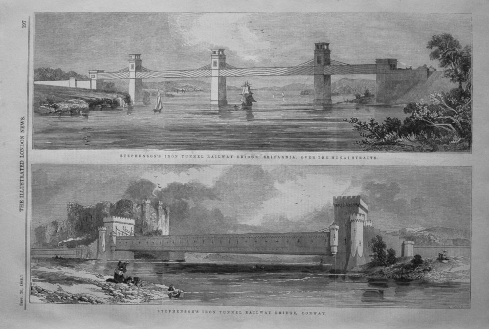 Stephenson's Iron Tunnel Railway Bridge. 1846