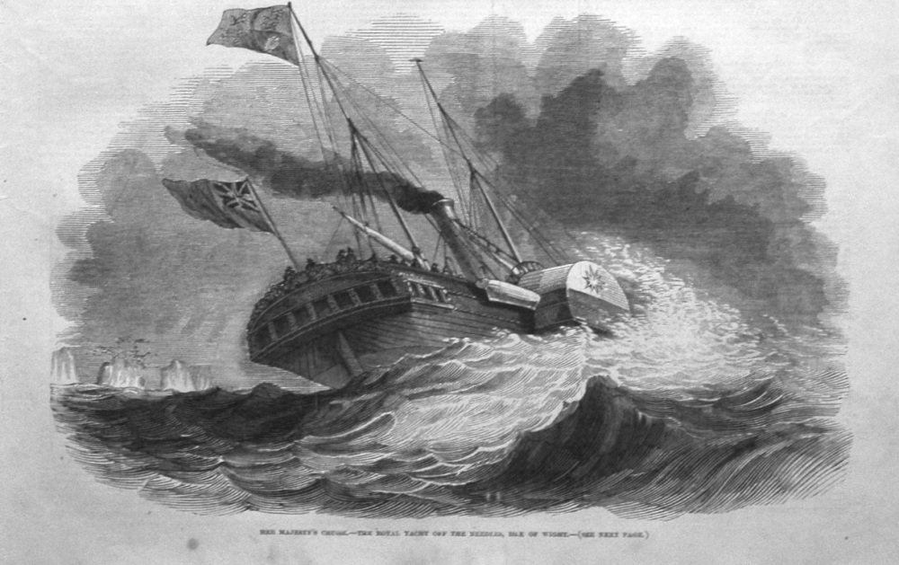 Her Majesty's Cruise. -The Royal Yacht off the Needles, Isle of Wight. 1846