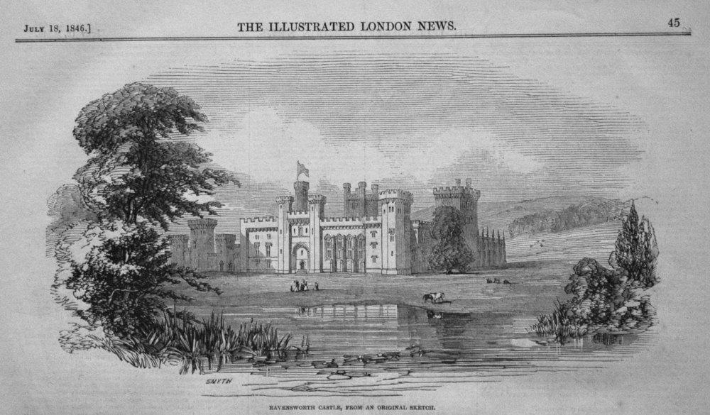Ravensworth Castle, from an original Sketch. 1846