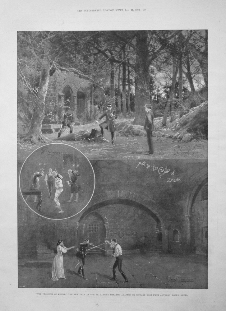 """""""The Prisoner of Zenda,"""" the new Play at the St. James's Theatre.  1896"""