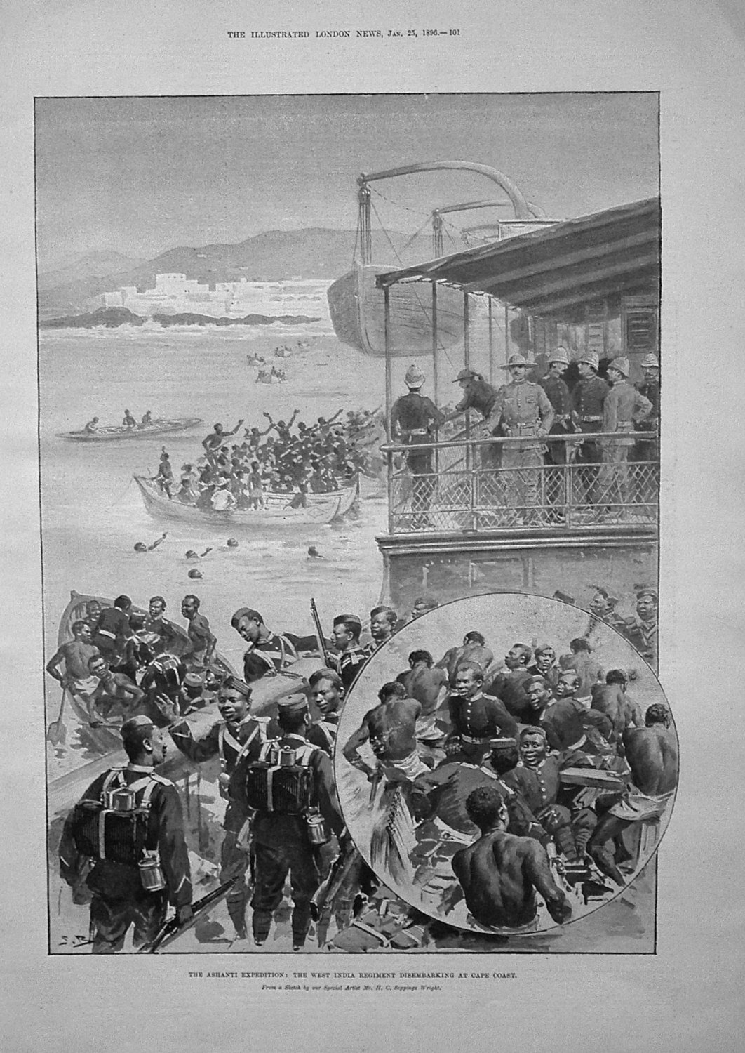 The Ashanti Expedition : The West India Regiment Disembarking at Cape Coast