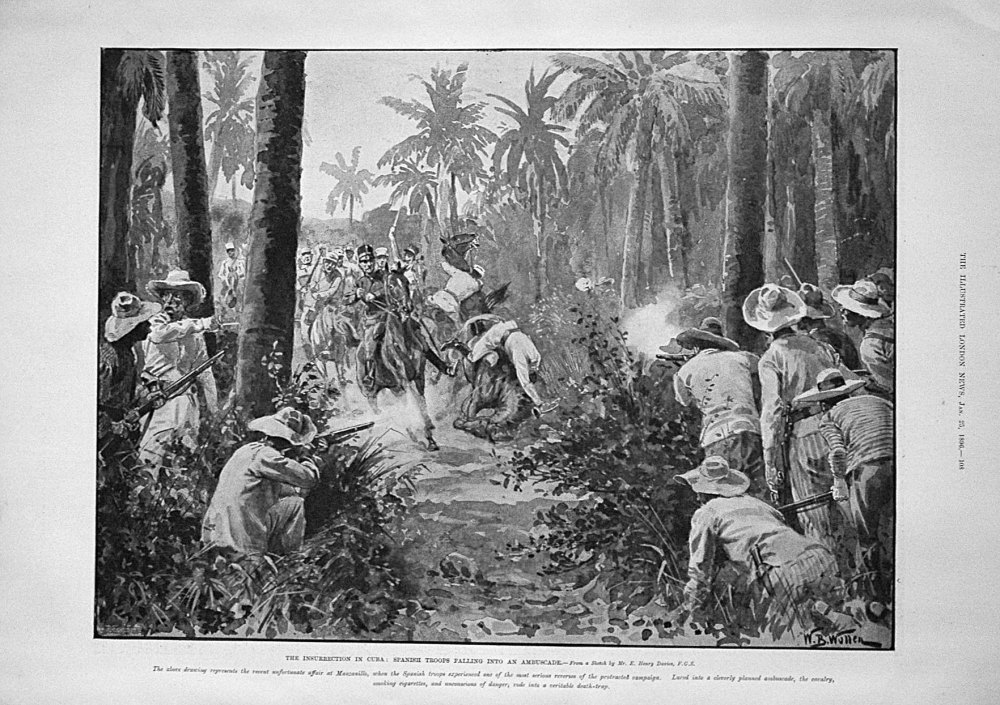 The Insurrection in Cuba : Spanish Troops Falling into an Ambuscade. 1896