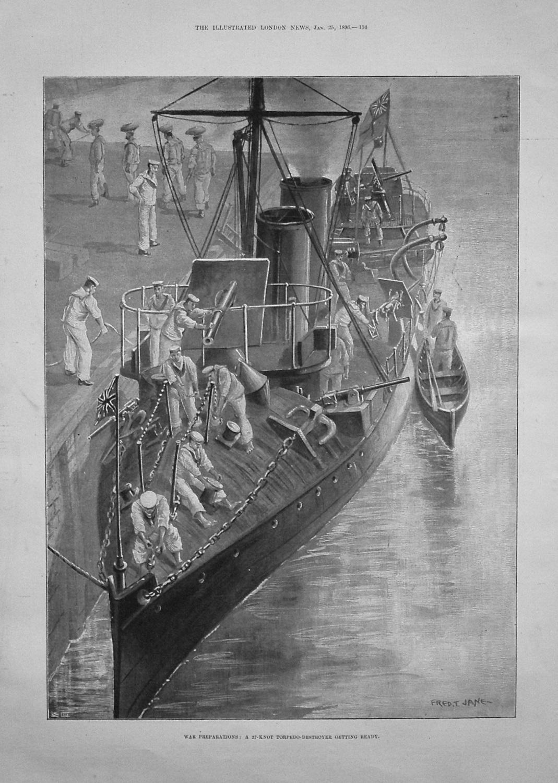 War Preparations : A 27-Knot Torpedo-Destroyer Getting Ready. 1896.
