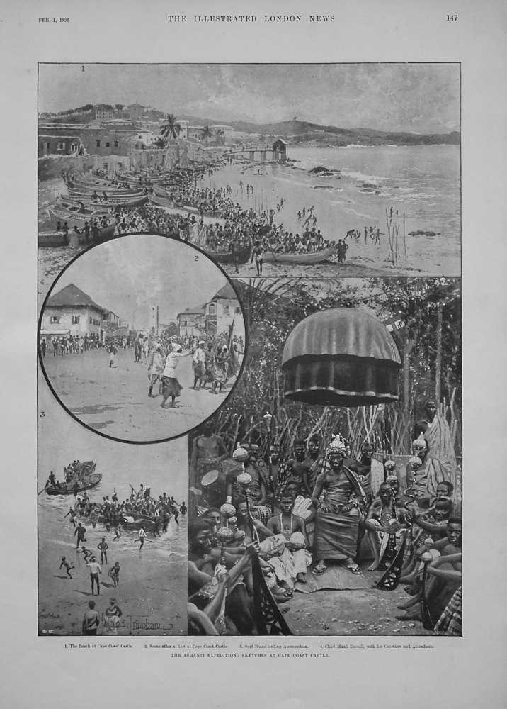 The Ashanti Expedition : Sketches at Cape Coast Castle.