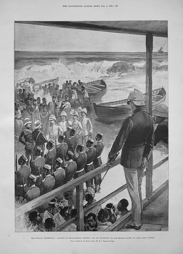 The Ashanti Expedition : Landing of Rear-Admiral Rawson, and His Reception by Sir Francis Scott, at Cape Coast Castle.