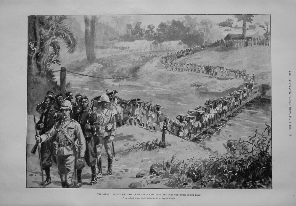 The Ashanti Expedition : Passage of the Houssa Artillery over the River Busum Prah.