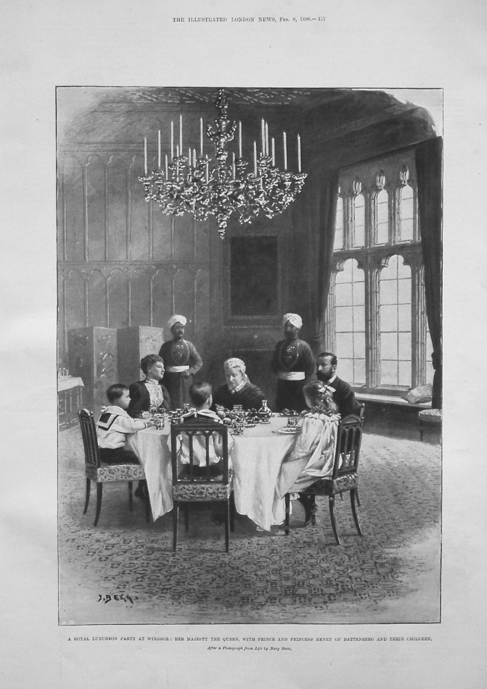A Royal Luncheon Party at Windsor : Her Majesty the Queen, with Prince and Princess Henry of Battenberg and their Children. 1896