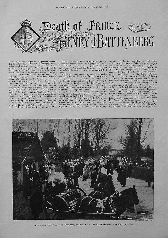 Death of Prince Henry of Battenberg. 1896