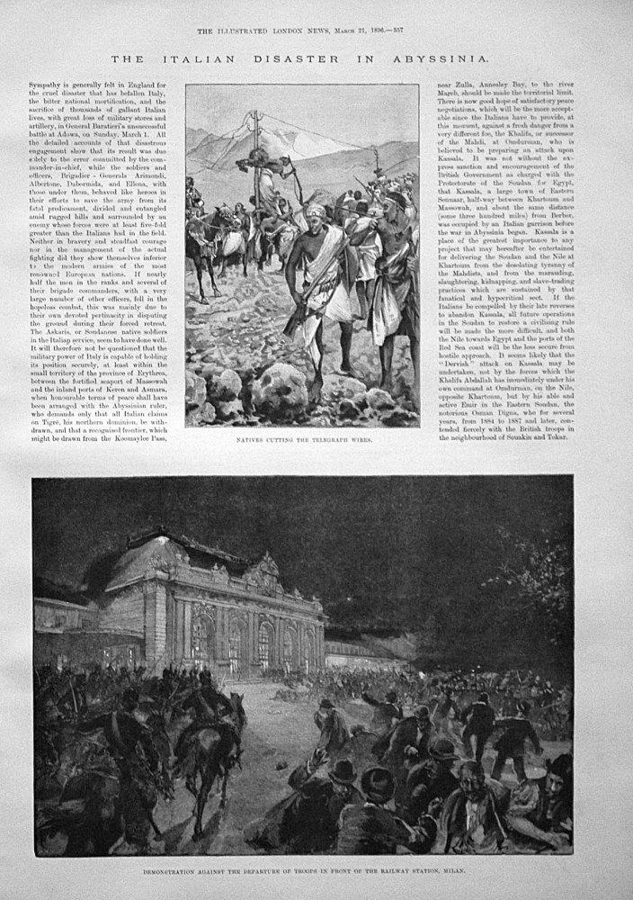 The Italian Disaster in Abyssinia. 1896