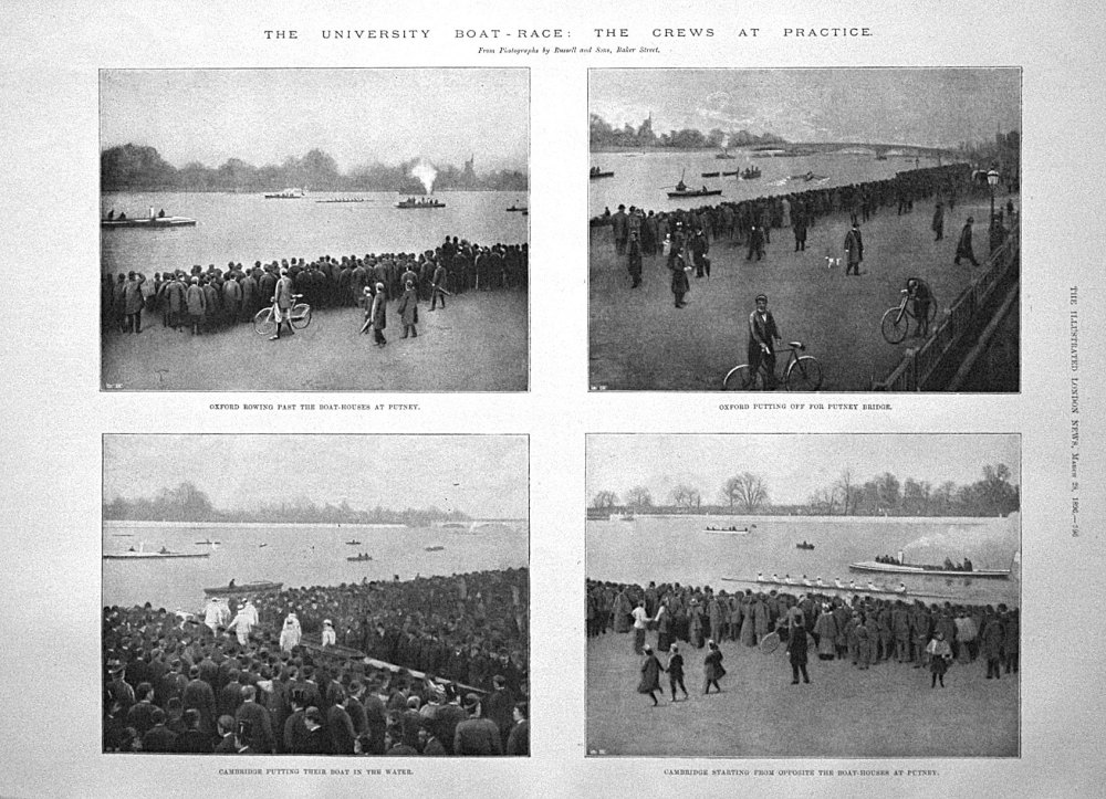 The University Boat - Race : The Crews at Practice. 1896