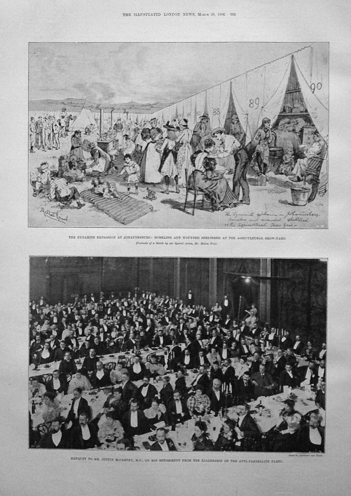 The Dynamite Explosion at Johannesburg : Homeless and Wounded Sheltered at the Agricultural Show-Yard. 1896
