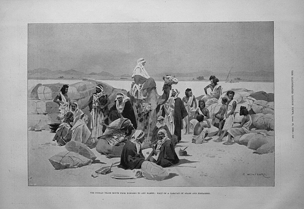 The Nubian Trade Route from Korosko to Abu Hamed : Halt of a Caravan of Ara