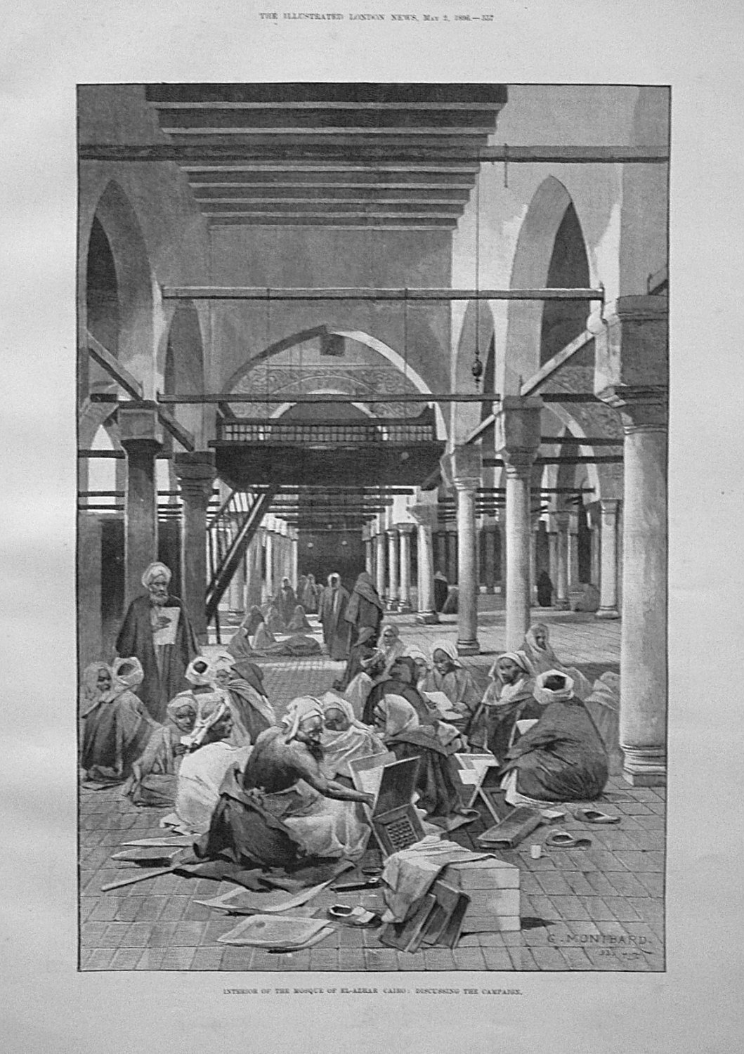 Interior of the Mosque of El-Azhar Cairo : Discussing the Campaign. 1896