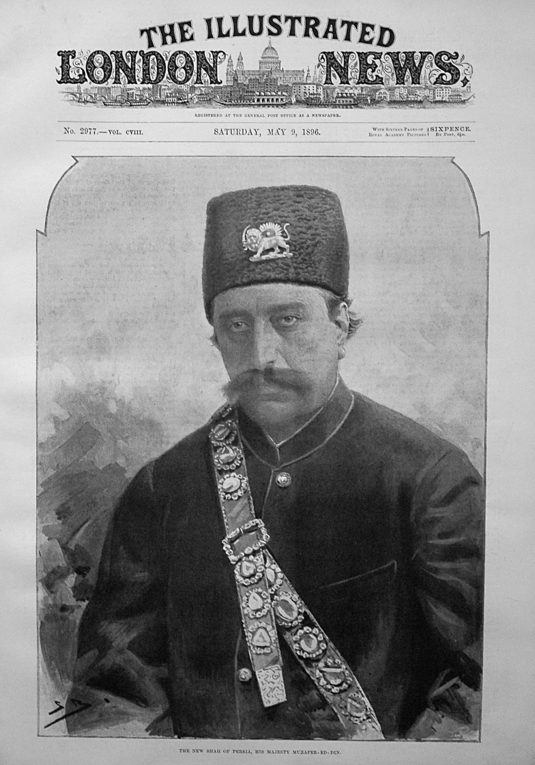 The New Shah of Persia, His Majesty Muzafer-Ed-Din. 1896