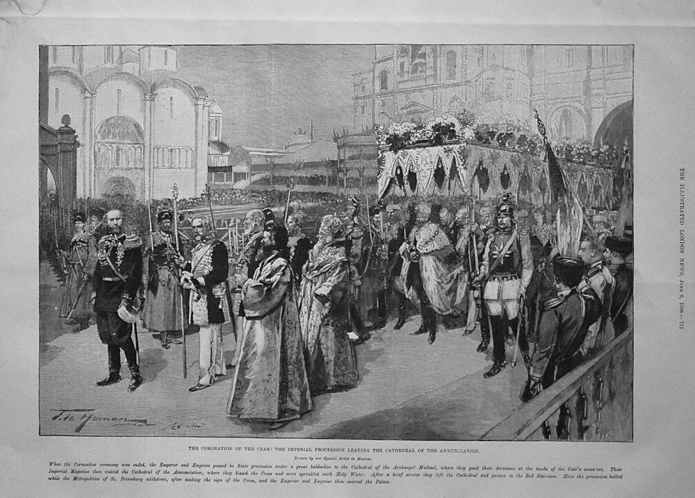 The Coronation of the Czar : The Imperial Procession Leaving the Cathedral