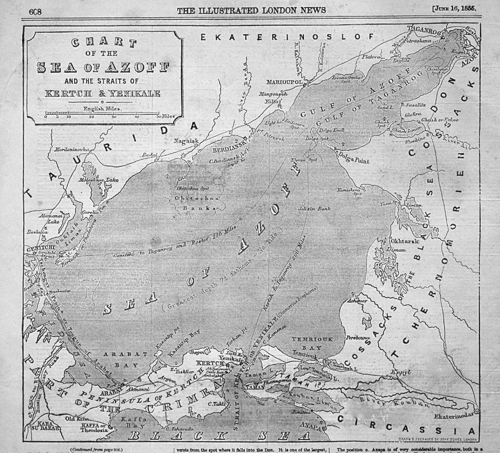Chart of the Sea of Azoff and the Straits of Kertch & Yenikale. 1855