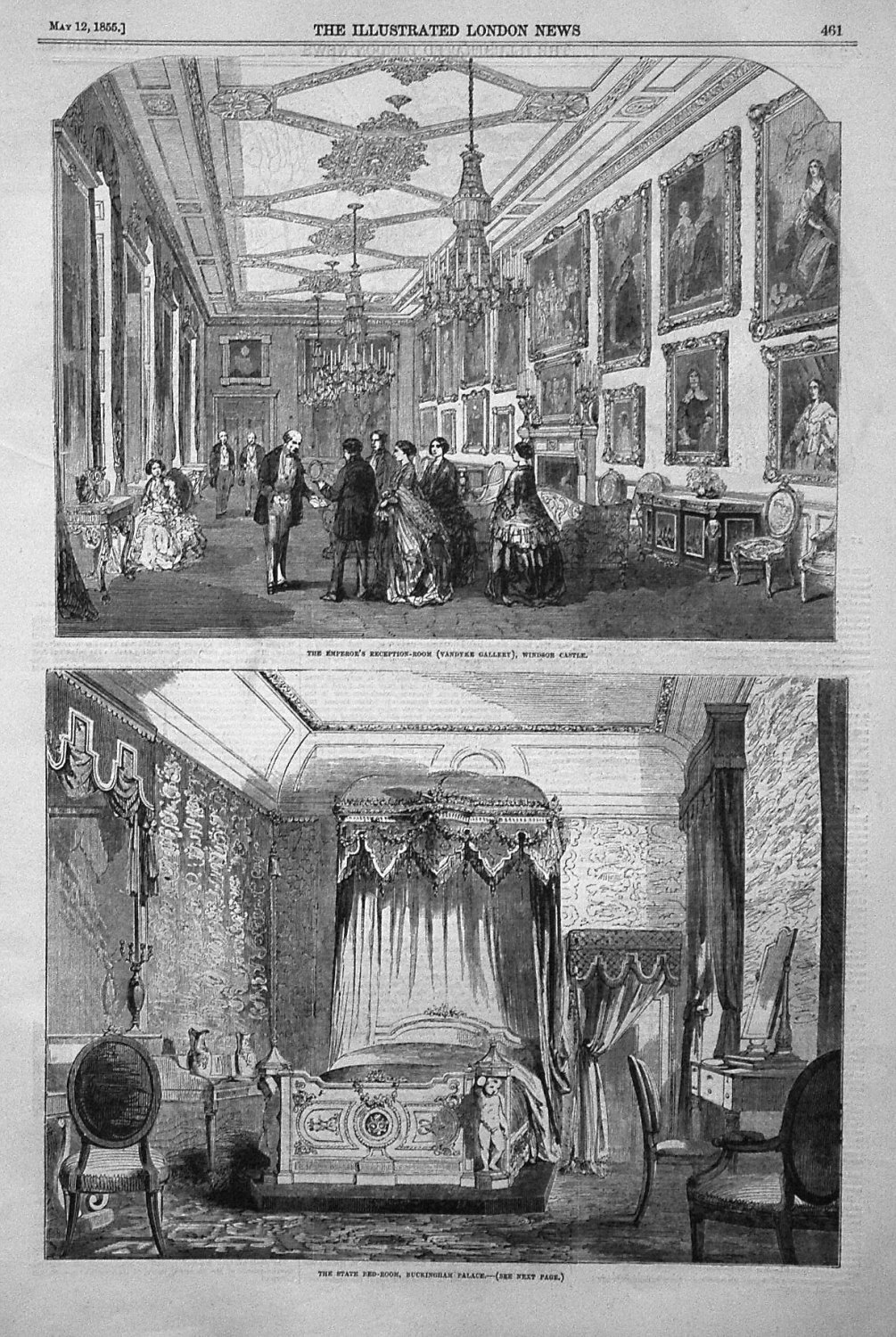 The Emperor's Reception-Room (Vandyke Gallery), Windsor Castle. 1855