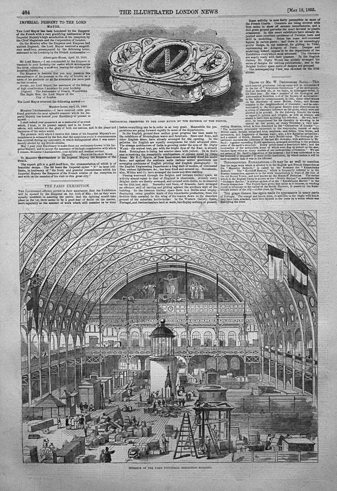 Interior of the Paris Industrial Exhibition Building. 1855