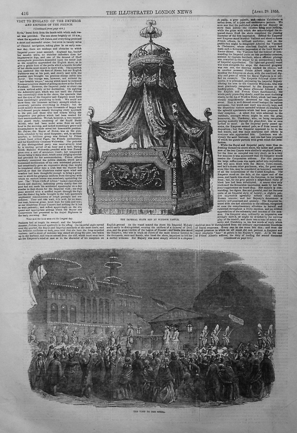 The Imperial State Bed at Windsor Castle. 1855