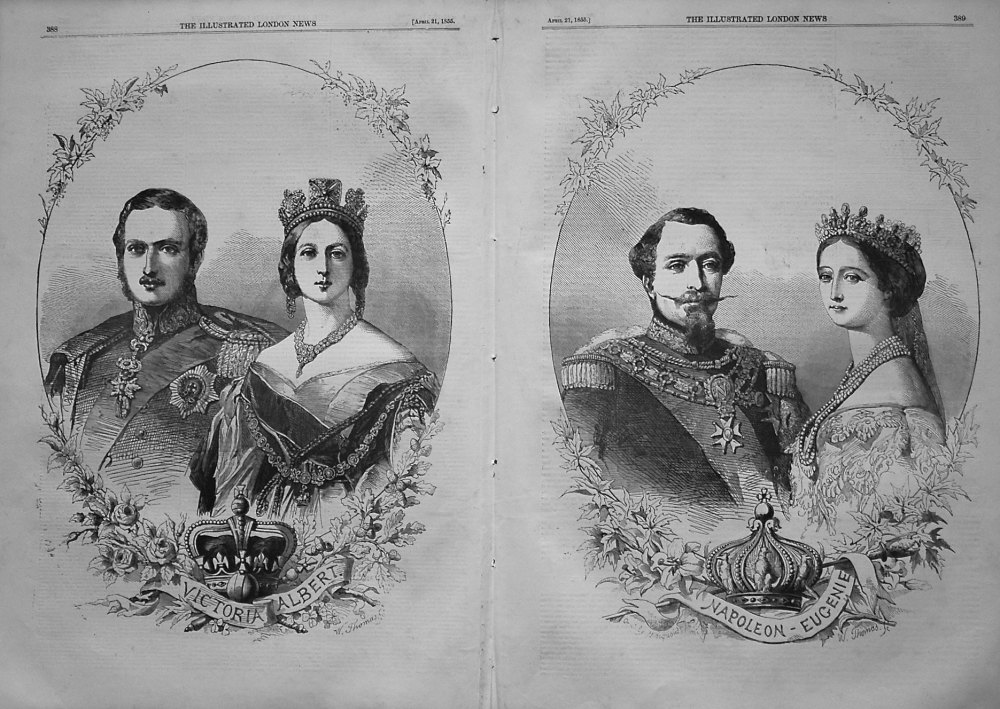 Victoria and Albert, and Napoleon and Eugenie. 1855