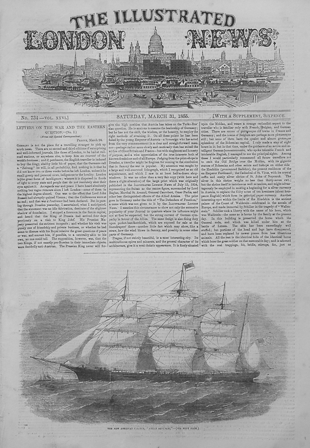 Illustrated London News March 31st 1855.
