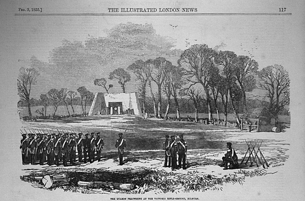 The Guards Practising at the Victoria Rifle-Ground, Kilburn. 1855
