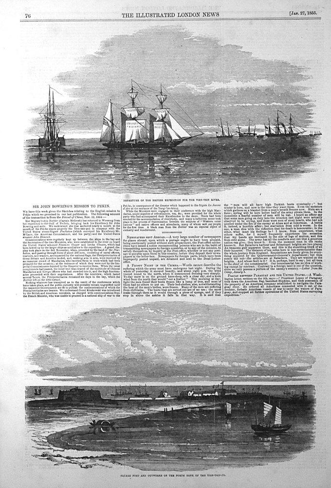 Sir John Bowring's Mission to Pekin. 1855