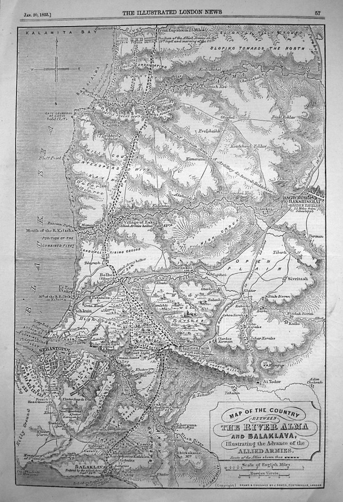 Map of the Country between The River Alma and Balaclava, Illustrating the Advance of the Allied Armies. 1855