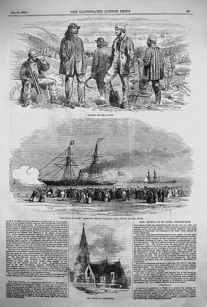 """""""The Prince of Wales"""" Steam-Ship Leaving Blackwall with Navies for the Crimea. 1855"""