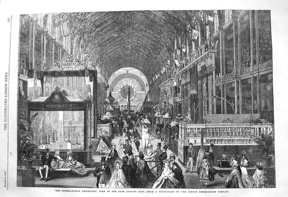 The International Exhibition : View of the Nave looking East. 1862
