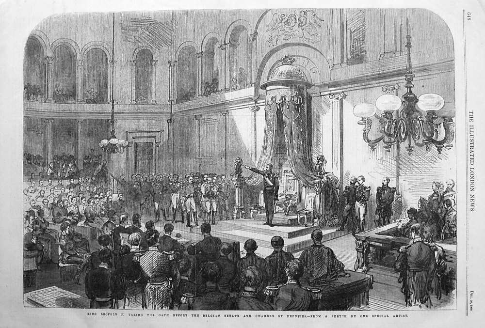 King Leopold II. Taking the Oath before the Belgian Senate and Chamber of D
