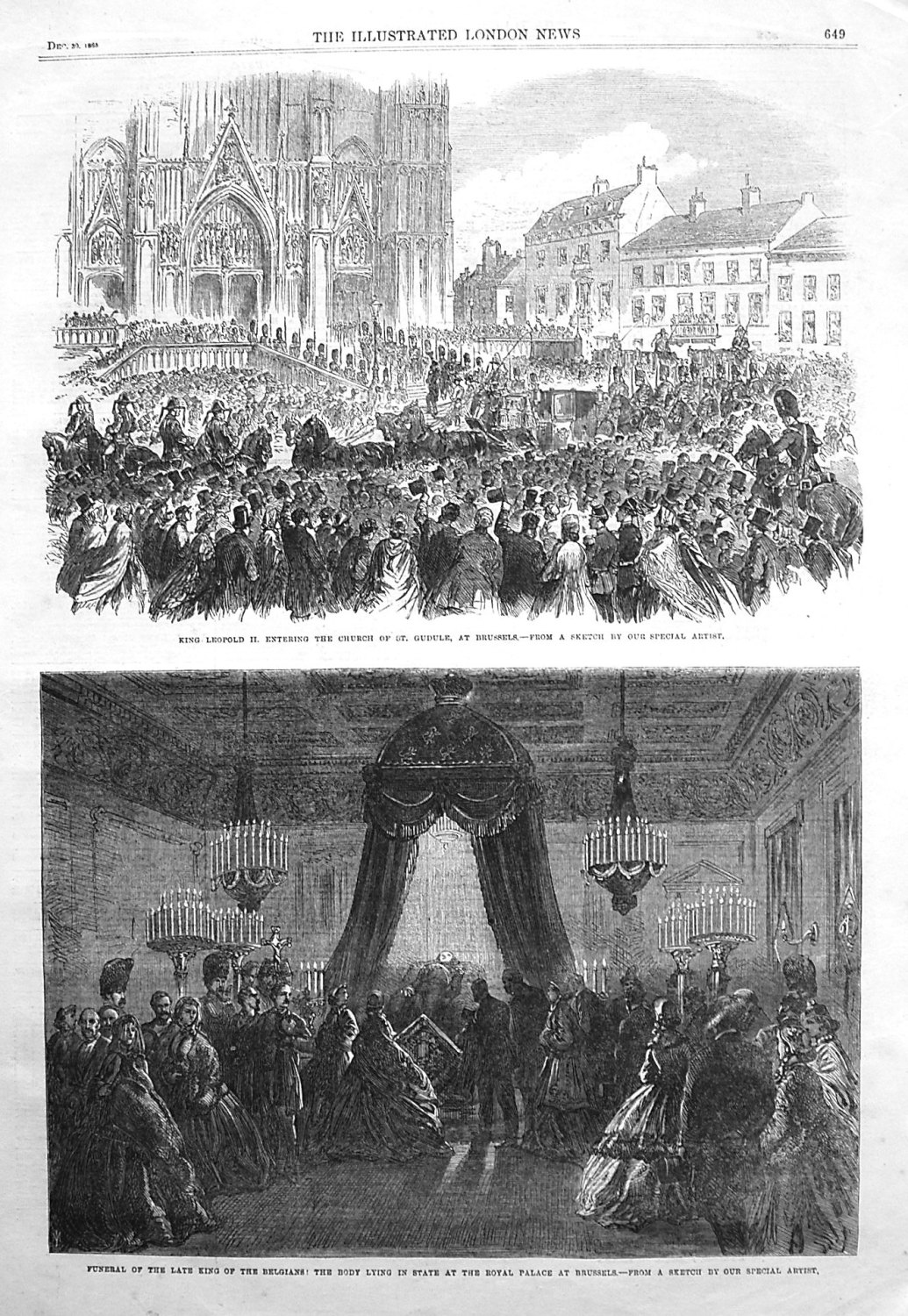 King Leopold II. Entering the Church of St. Gudule, at Brussels. 1865.