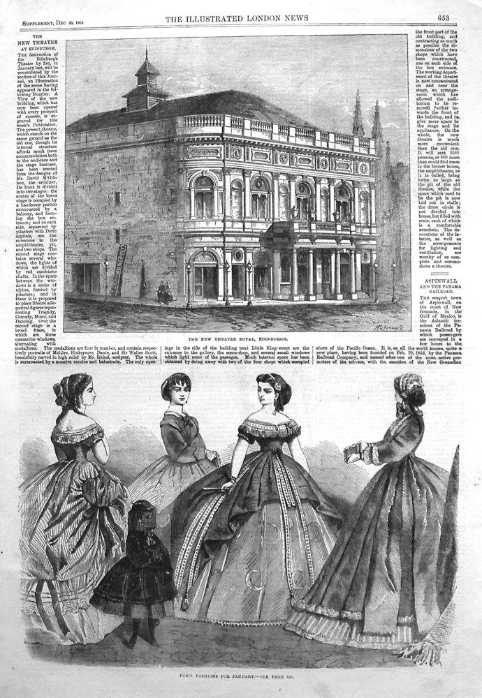 The New Theatre Royal Edinburgh. 1865.