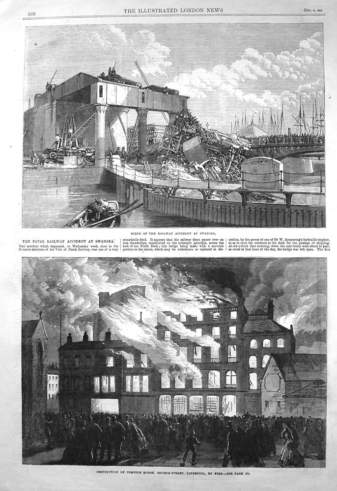 Scene of the Fatal Railway Accident at Swansea. 1865