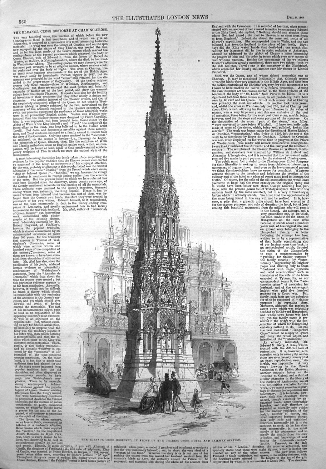 The Eleanor Cross Restored at Charing-Cross. 1865