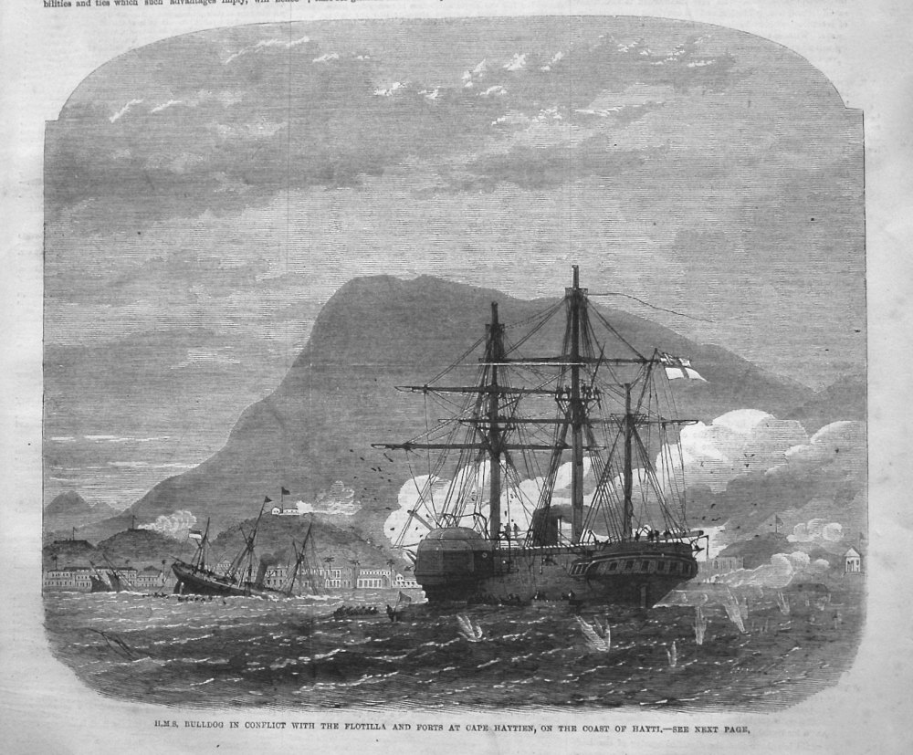 H.M.S. Bulldog in Conflict with the Flotilla and Forts at Cape Haytian, on