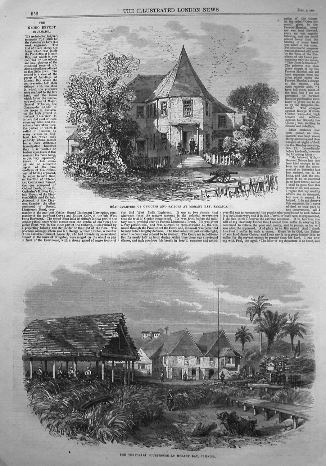 Head-Quarters of Officers and Sailors at Morant Bay, Jamaica. 1865