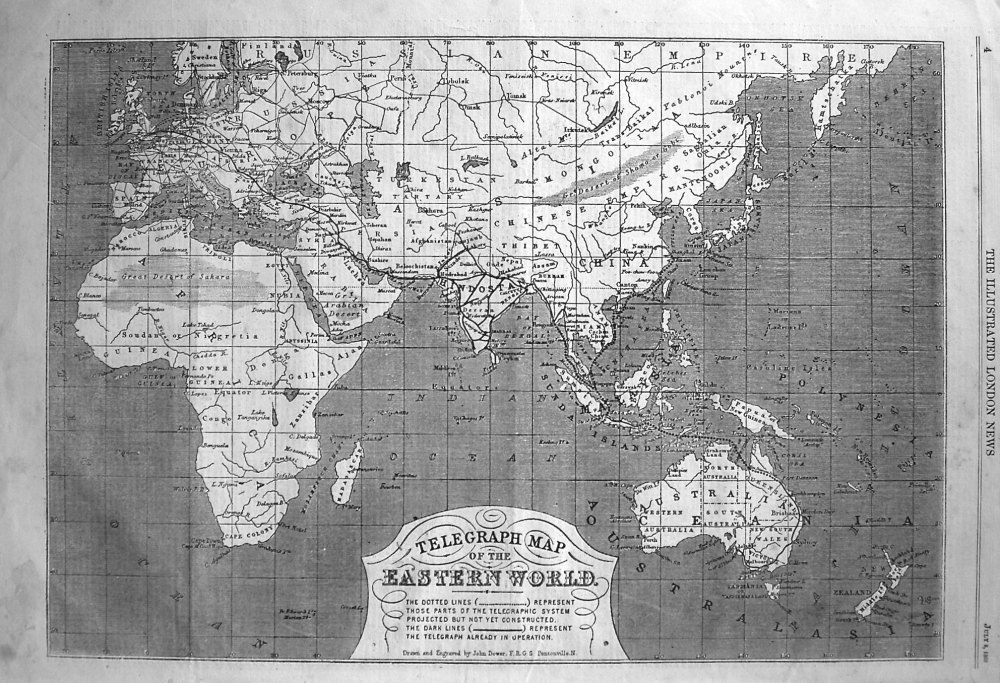Telegraph Map of the Eastern World. 1865