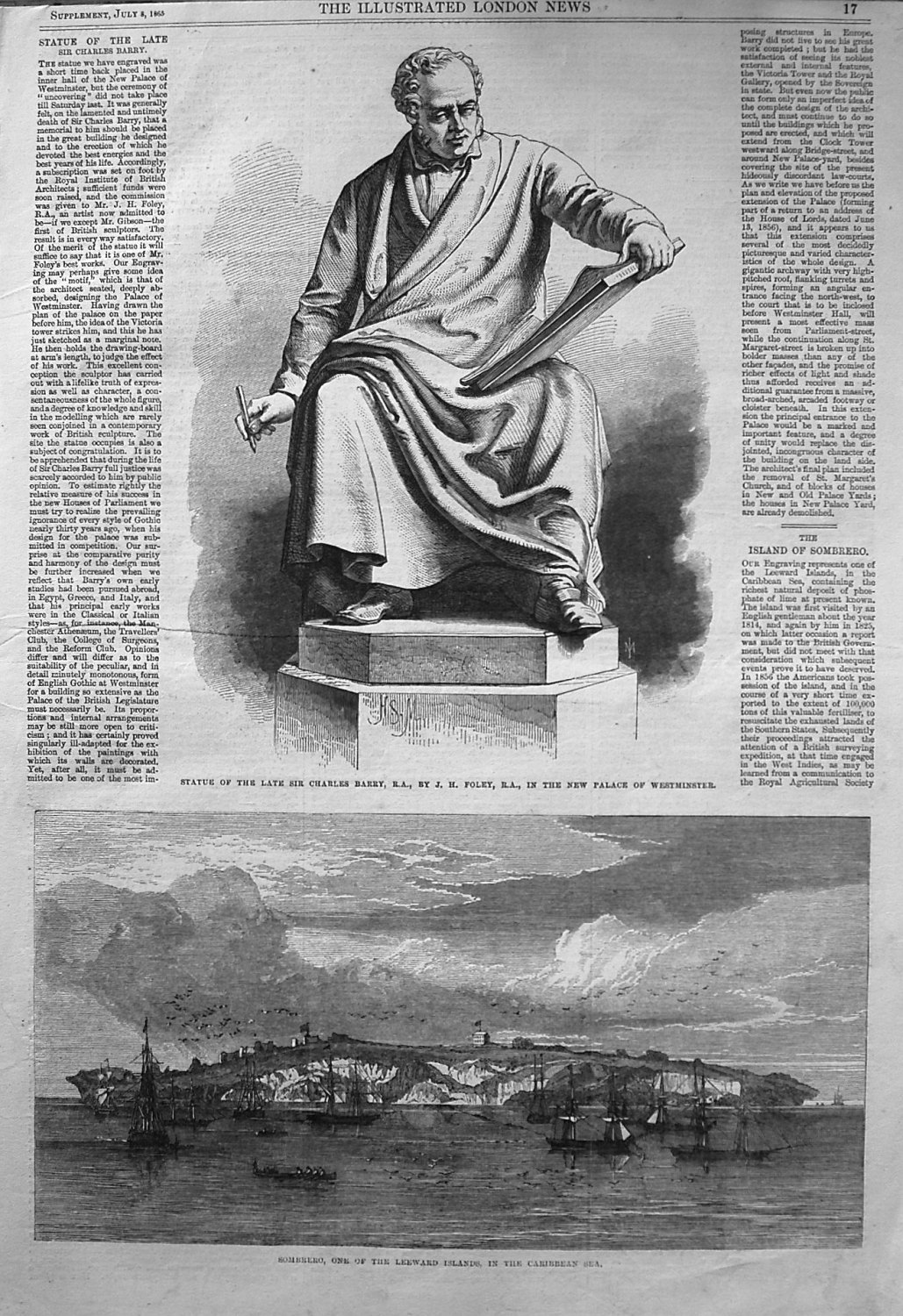 Statue of the Late Sir Charles Barry, R.A., by J.H. Foley, R.A., in the New