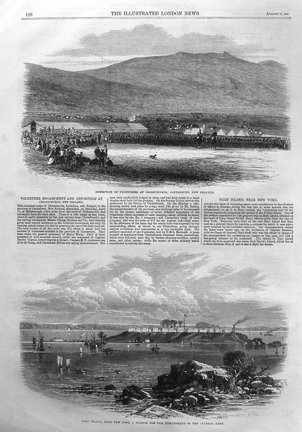 Volunteer Encampment and Inspection at Christchurch, New Zealand. 1865