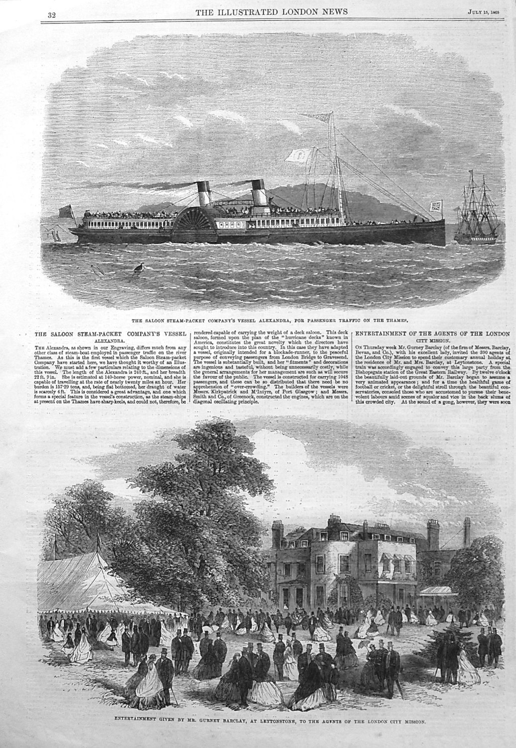 The Saloon Steam-Packet Company's Vessel Alexandra, for Passenger Traffic o