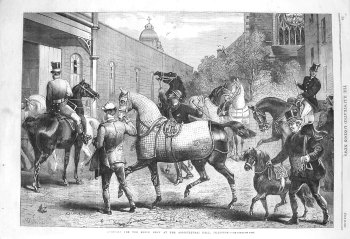 Arrivals for the Horse Show at the Agricultural Hall, Islington. 1865