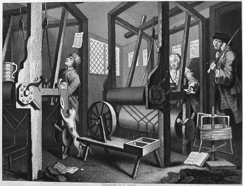 Industry and Idleness. Plate 1. The Fellow 'Prentices at their Looms.