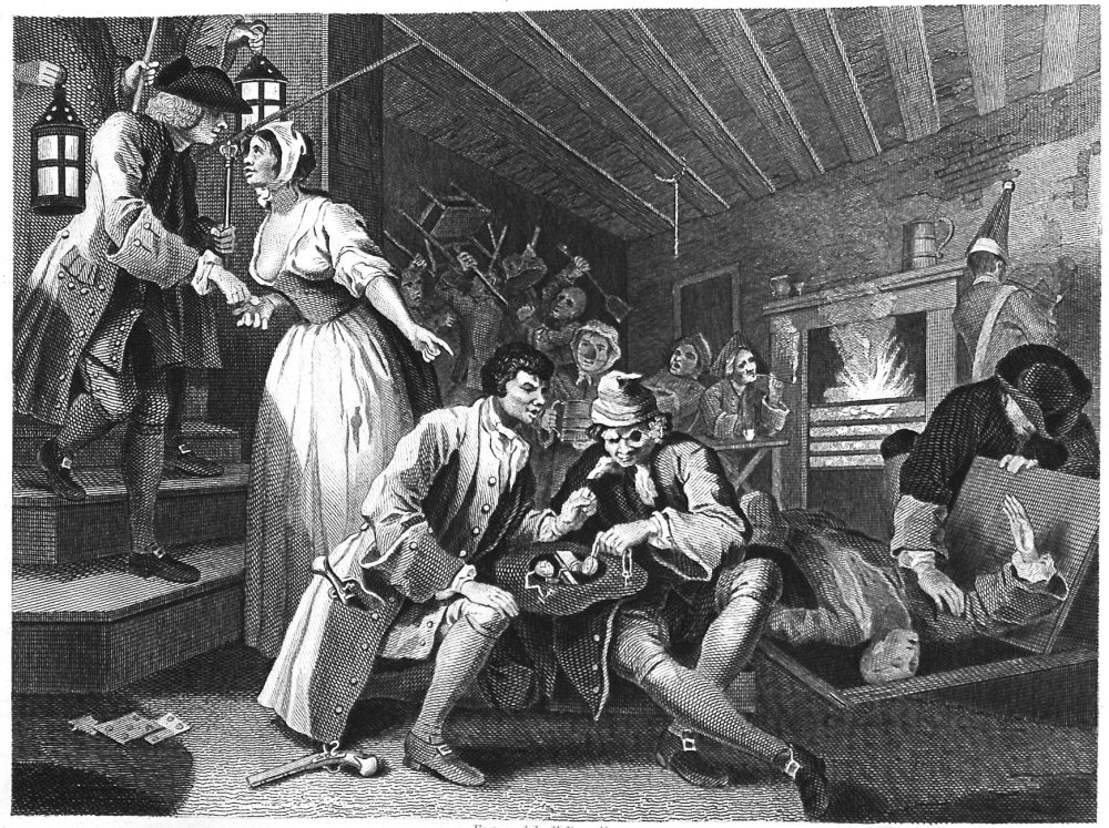 Industry and Idleness. Plate 9. The Idle 'Prentice Betrayed by a Prostitute