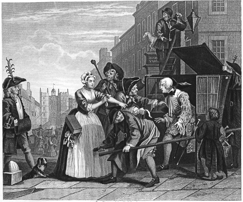 The Rake's Progress. Plate 4. Arrested for Debt as Going to Court.
